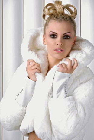 Blonde woman in fur